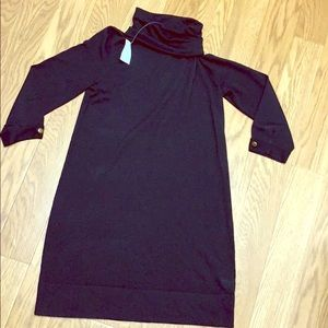 NWT J.crew factory black wool sheer sweater dress